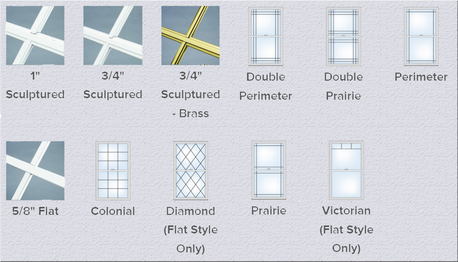 pattern and grid options double hung windows