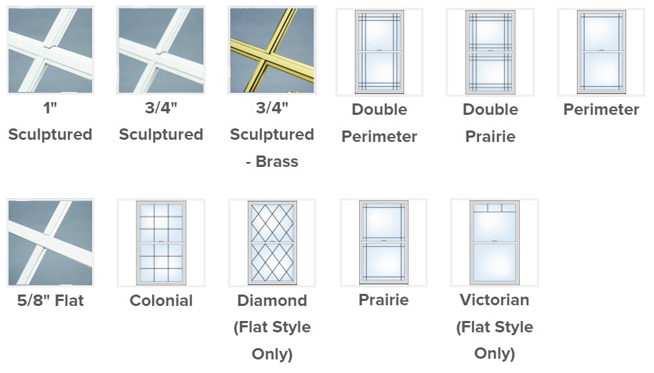 choose from multiple pattern and grid single hung window options