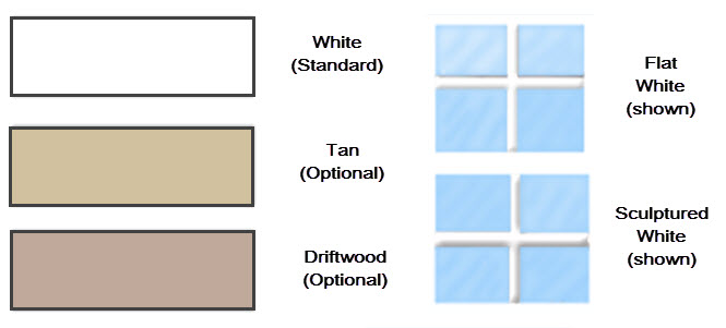 premium windows color options white tan and driftwood in sculptured or flat