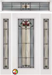 bellflower decorative glass with 686blf and 694blf sidelights and transom