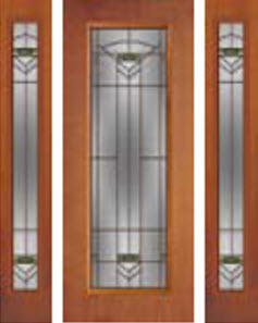 door and 2 sidelights panel with greenfield glass