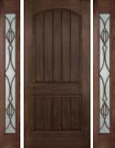 rustic door look with catalina decorative glass in sidelights