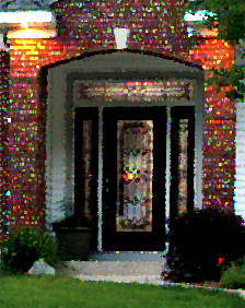 front door with majestic decorative glass