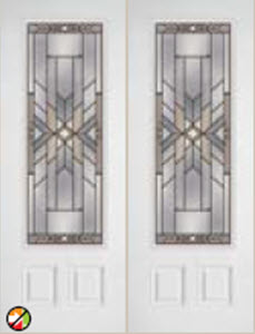 bhi non-impact door  686moh with mohave decorative glass insert