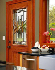 non-impact kitchen entry door with mohave decorative glass