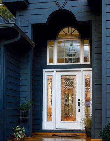 front entrance with paris decorative glass