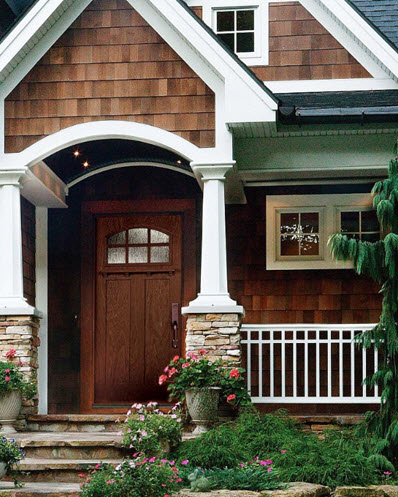 front entry with rain textured door glass