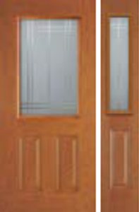 non-impact entry door 684SM and 692SM  sidelight  with simplicity decorative glass
