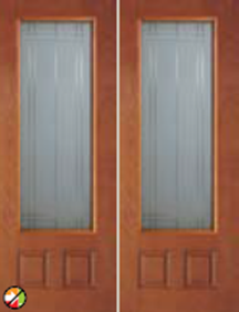 non-impact 8ft entry door 686SM  with simplicity decorative glass