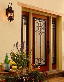 courtyard door with veranda decorative glass tampa contractor
