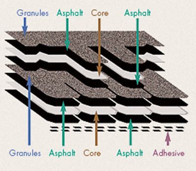 layers diagram camelot II asphalt designer shingles