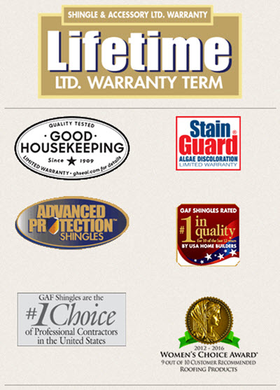 logos and quality badges for grand sequoia impact resistant shingles